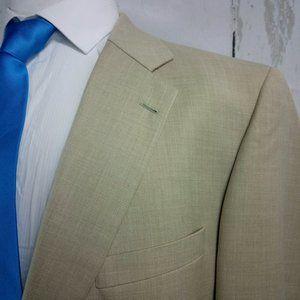 Alan Flusser 48R Beige Suit Blazer Sport Coat